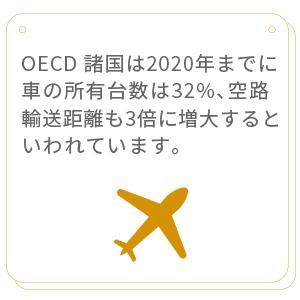 2002年の時点で、OECD 諸国の車両保有台数は5億5,000万台に達しています(うちマイカーは75%を占める)。2020年までに、車の所有台数は32%増大すると見られます。また、自動車の走行キロ数も 40%増大すると見られているほか、世界全体の空路輸送距離も同時期に3倍に増える見込みです。