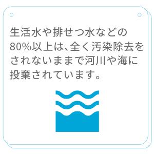 人間の活動に起因する排水の80%以上は、まったく汚染除去を受けないまま河川や海に投棄されています。