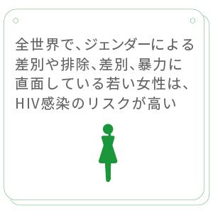 全世界で、思春期の女児と若い女性はジェンダーに基づく差別や排除、差別、暴力に直面しているため、HIV 感染のリスクが高まっています。